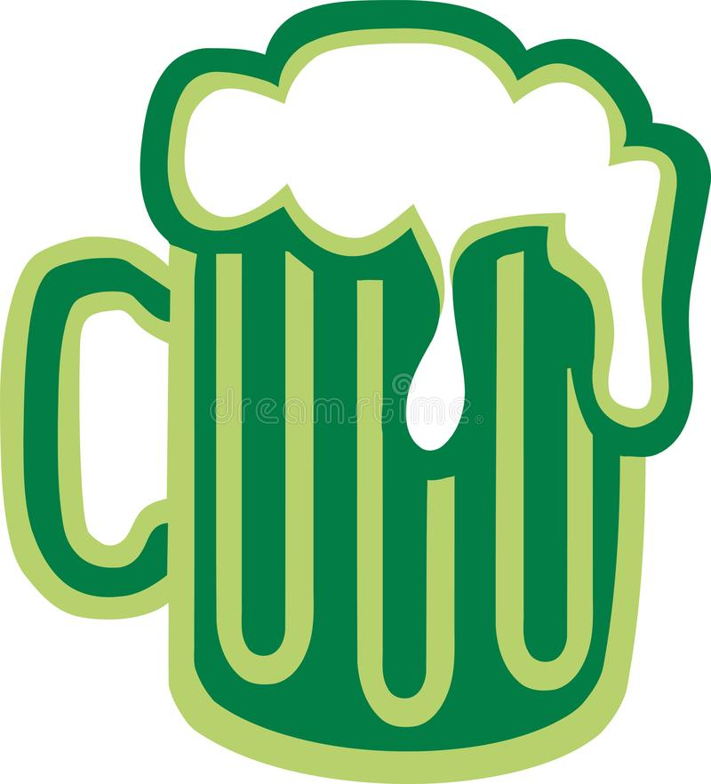 St. Patrick`s Day beer green stock illustration