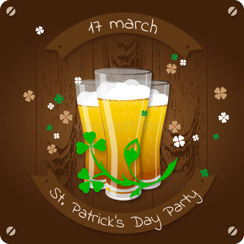 St. Patrick`s Day beer party invitation poster. Wooden background with glasses of beer vector illustration