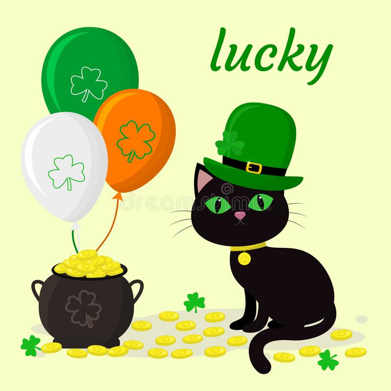 St.Patrick s Day. A black cat in a green hat of a leprechaun, a pot of gold coins, three balloons, a clover. Cartoon style, flat stock illustration