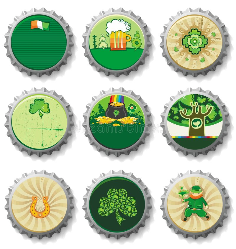 Free St. Patrick S Day Bottle Caps Stock Photography - 8172332