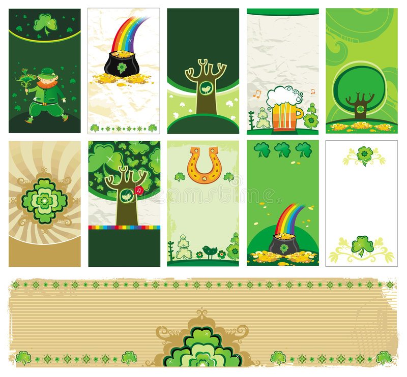 Download St. Patrick's Day cards stock vector. Image of bird, flag - 8085581