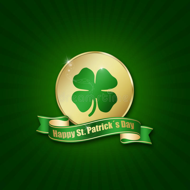 St. Patrick´s Day Coin with Greeting. St. Patrick´s Day illustration: A golden coin with a shamrock and a ribbon with greeting on a green background stock illustration