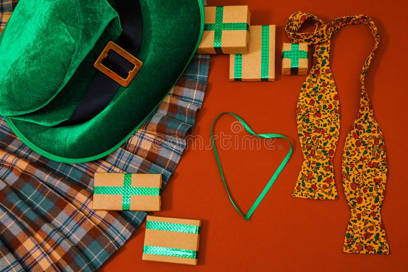 St. Patrick`s day costume hat leprechaun holiday green kilt gift irish tie heart brown March stock image