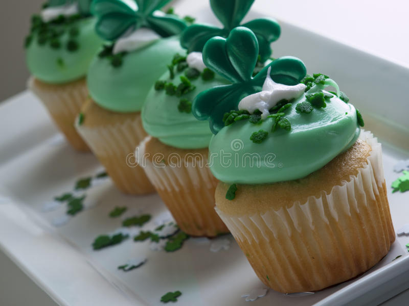 St. Patrick's Day Cupcake stock images