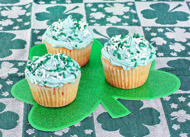 St. Patrick's Day Cupcakes royalty free stock photography
