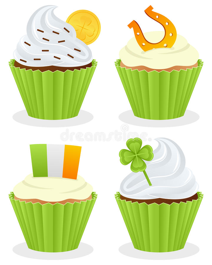 St. Patrick s Day Cupcakes Collection. Set of four St. Patricks or Saint Patrick s Day sweet cupcakes, isolated on white background. Eps file available stock illustration