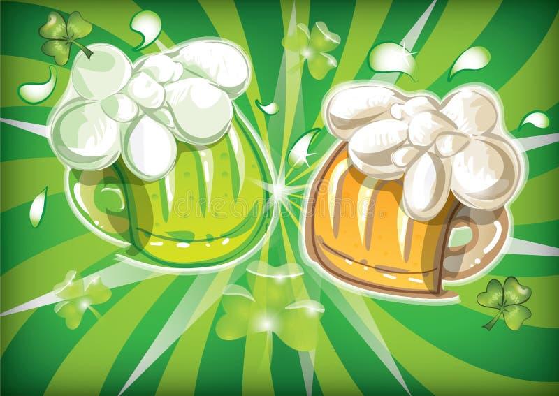 St. Patrick`s day design. Two glasses full with splashing beer vector illustration