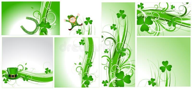 St. Patrick's Day Flourish Backgrounds stock illustration