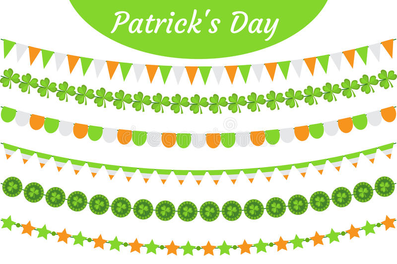 St. Patrick`s Day garland set. Festive decorations bunting. Party elements, flags, shamrock, clover. Isolated on white stock illustration