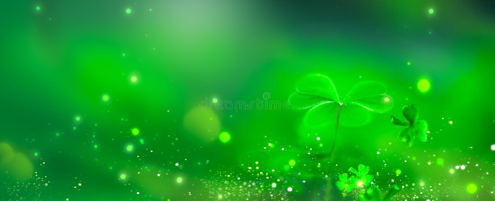 St. Patrick`s Day green background decorated with shamrock leaves. Patrick Day pub party celebrating. Abstract Border art design royalty free stock photography