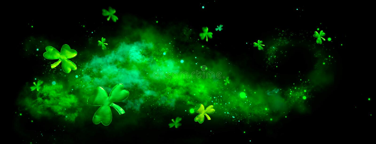 St. Patrick`s Day green blurred background with shamrock leaves. Patrick Day. Abstract border art design stock image