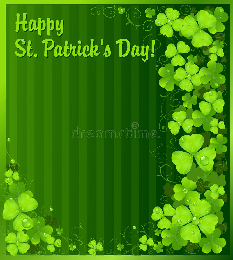 St. Patrick's Day green clover background vector illustration