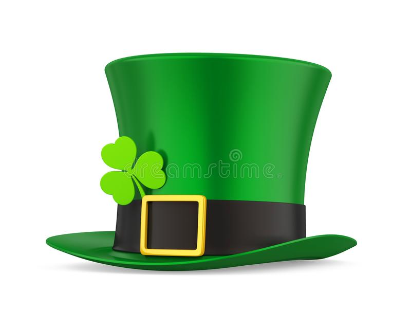 St. Patrick`s Day Hat with Clover Isolated. On white background. 3D render vector illustration
