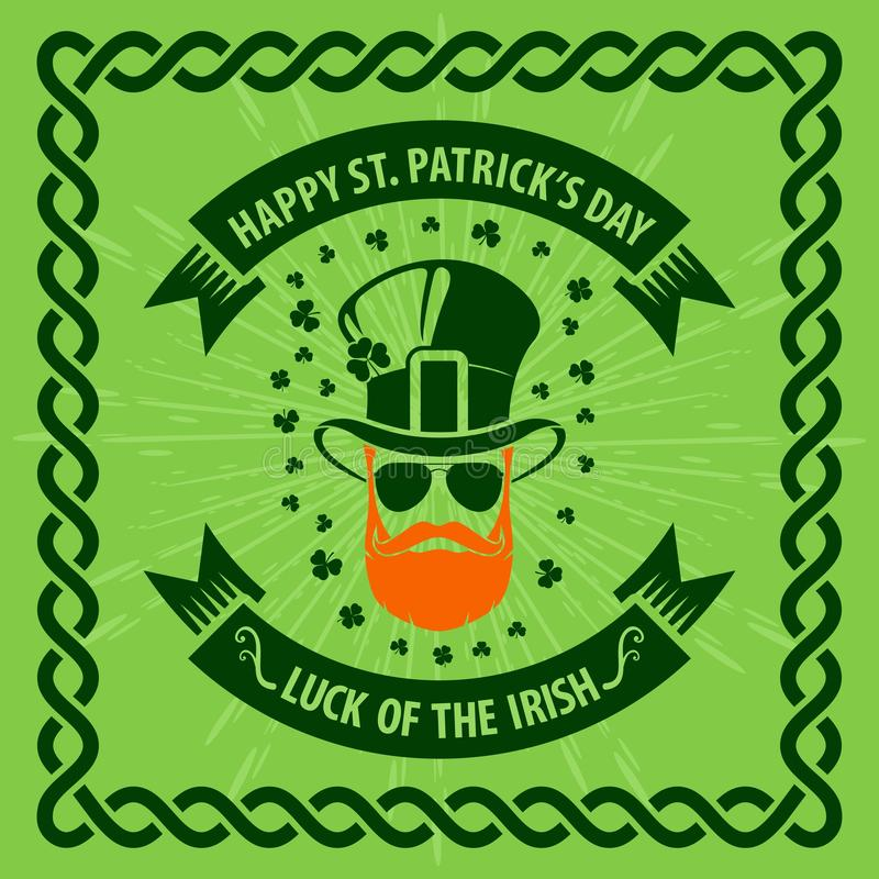 St. Patrick`s Day Holiday poster, banner, label, badge, emblem or greeting card design with hipster leprechaun. stock illustration