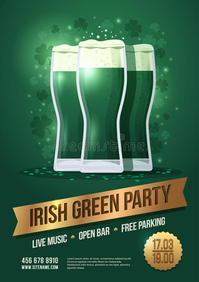 St. Patrick`s Day. Holiday poster with three beer glasses and lettering on golden ribbon: `Irish green party`. royalty free illustration