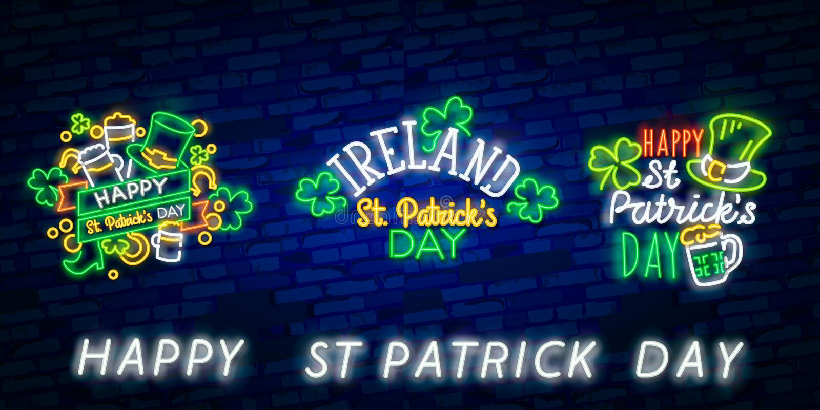 St. Patrick`s Day icon set isolated. Patrick`s Day neon sign. Horseshoe, Clover, Rainbow, Gold coin, Beer, Flag Ireland and stock photo