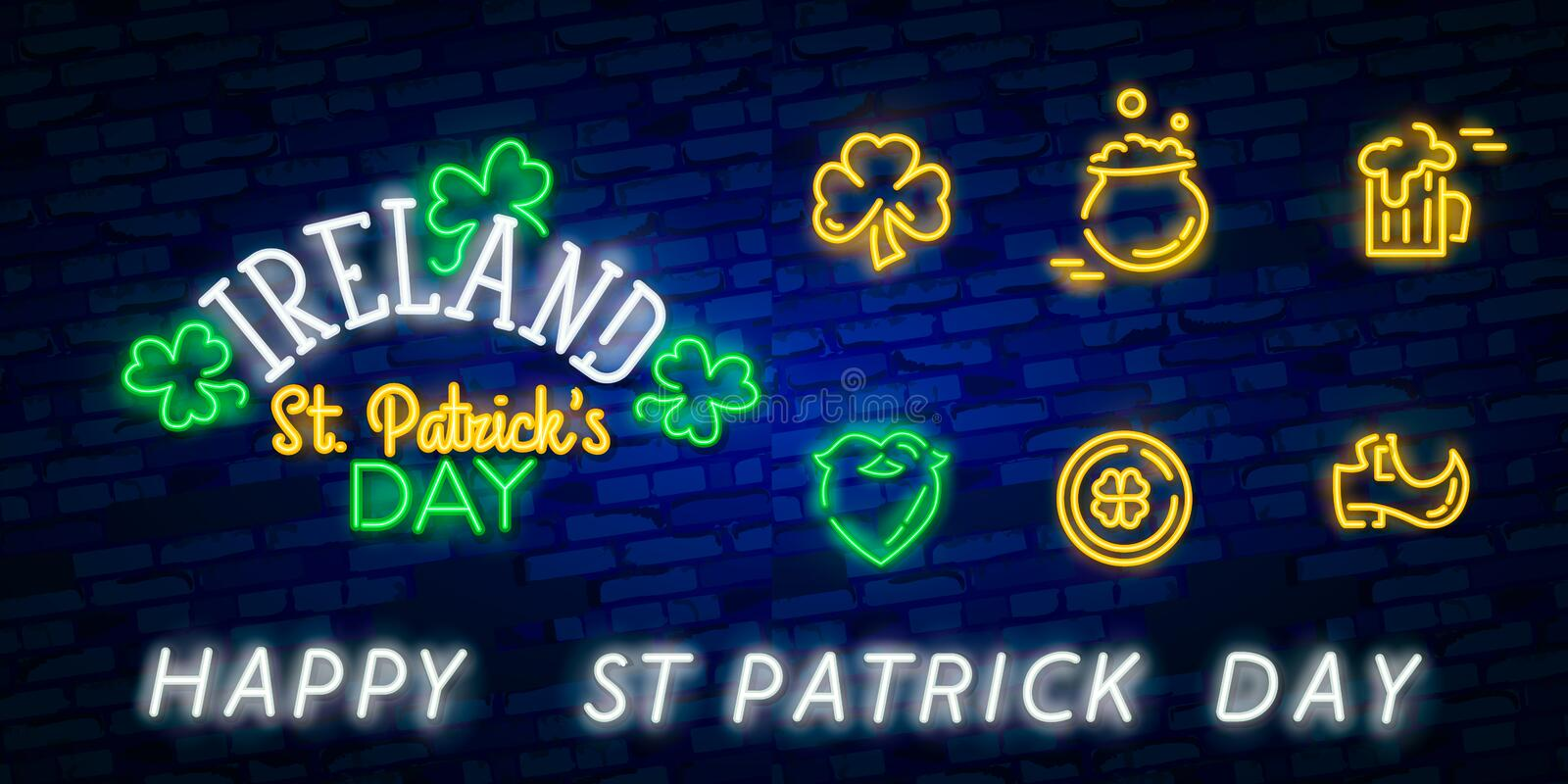 St. Patrick`s Day icon set isolated. Patrick`s Day neon sign. Horseshoe, Clover, Rainbow, Gold coin, Beer, Flag Ireland and. Calendar icon stock images