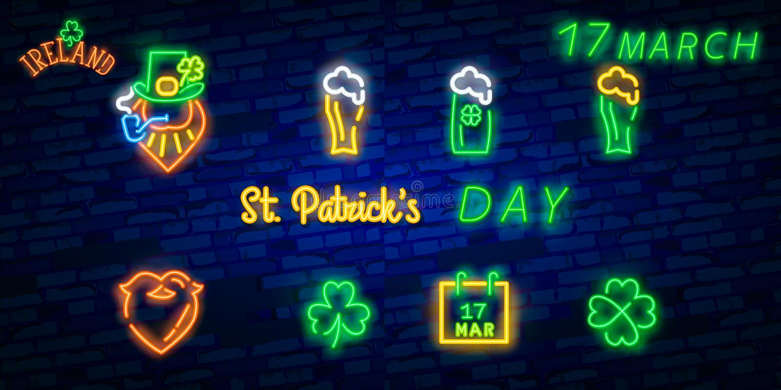 St. Patrick`s Day icon set isolated. Patrick`s Day neon sign. Horseshoe, Clover, Rainbow, Gold coin, Beer, Flag Ireland and royalty free illustration