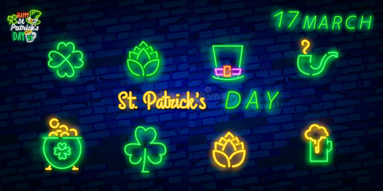 St. Patrick`s Day icon set isolated. Patrick`s Day neon sign. Horseshoe, Clover, Rainbow, Gold coin, Beer, Flag Ireland and. Calendar icon royalty free stock photo