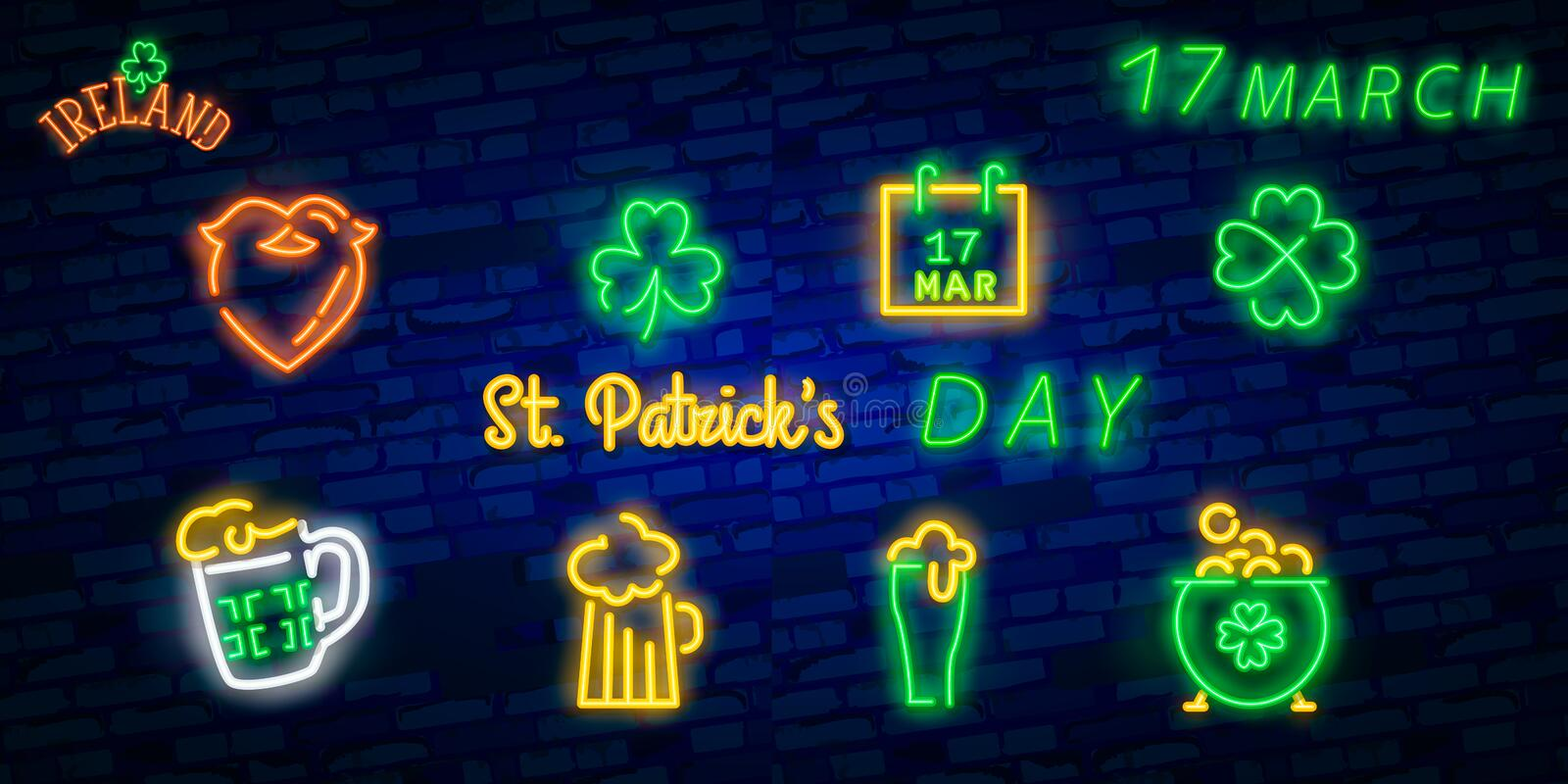 St. Patrick`s Day icon set isolated. Patrick`s Day neon sign. Horseshoe, Clover, Rainbow, Gold coin, Beer, Flag Ireland and. Calendar icon royalty free stock image