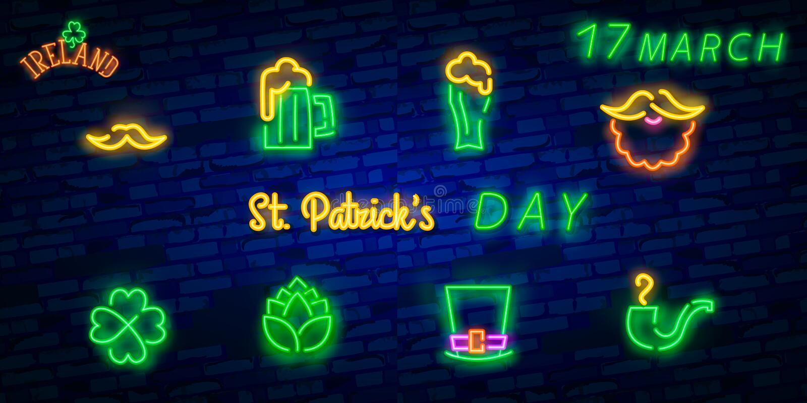 St. Patrick`s Day icon set isolated. Patrick`s Day neon sign. Horseshoe, Clover, Rainbow, Gold coin, Beer, Flag Ireland and. Calendar icon stock photo