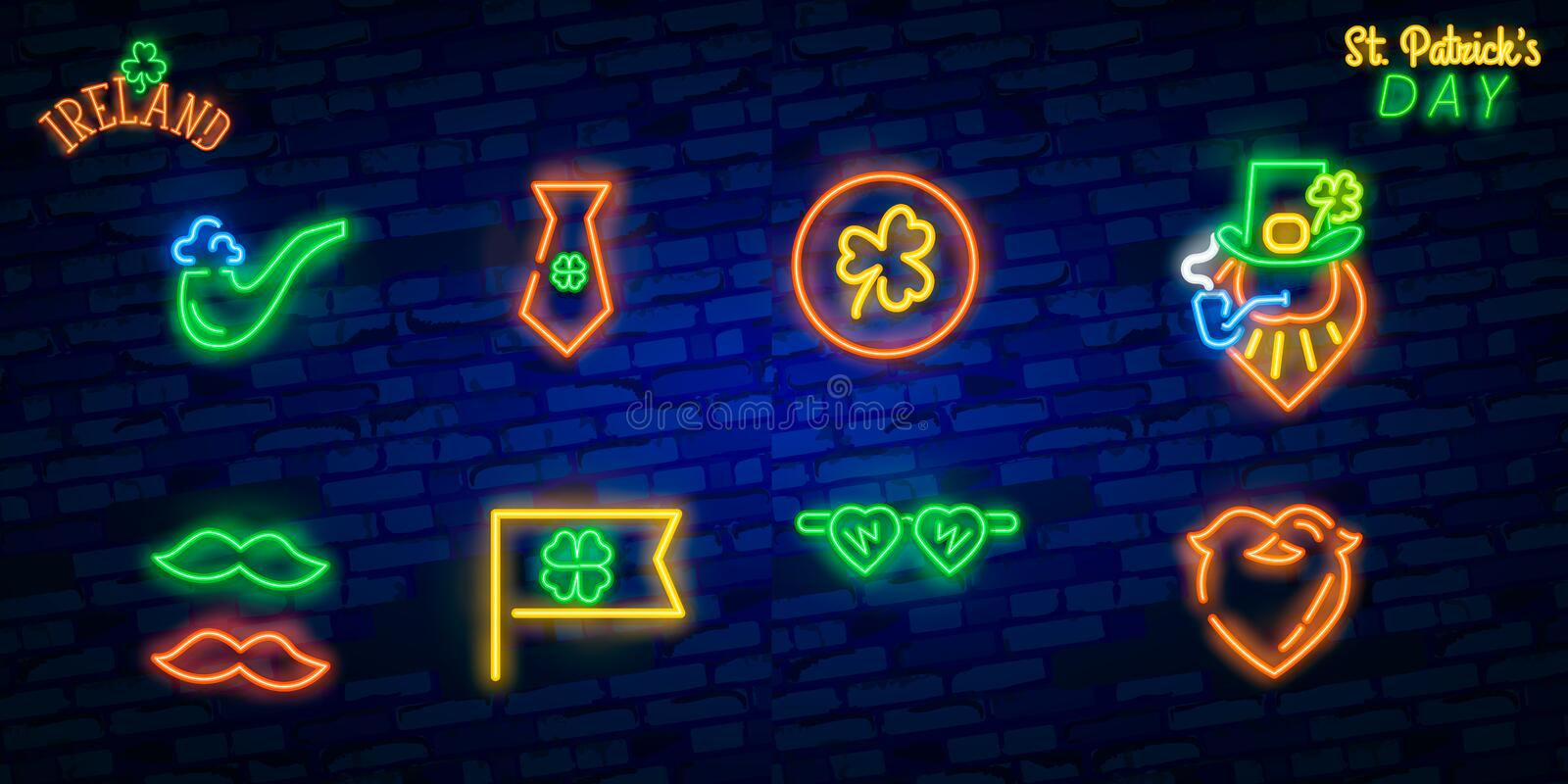 St. Patrick`s Day icon set isolated. Patrick`s Day neon sign. Horseshoe, Clover, Rainbow, Gold coin, Beer, Flag Ireland and. Calendar icon royalty free stock images