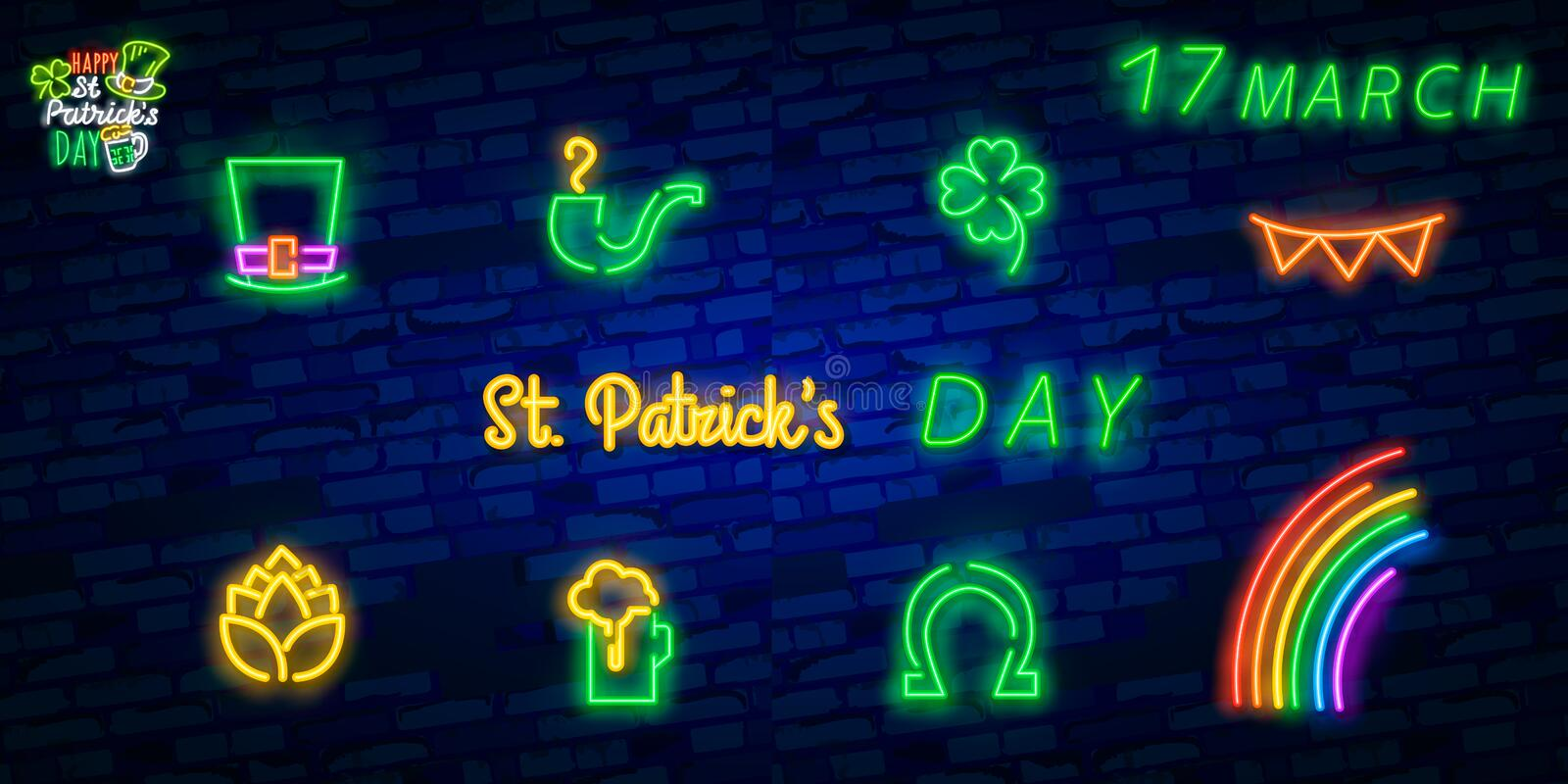 St. Patrick`s Day icon set isolated. Patrick`s Day neon sign. Horseshoe, Clover, Rainbow, Gold coin, Beer, Flag Ireland and. Calendar icon royalty free stock photos
