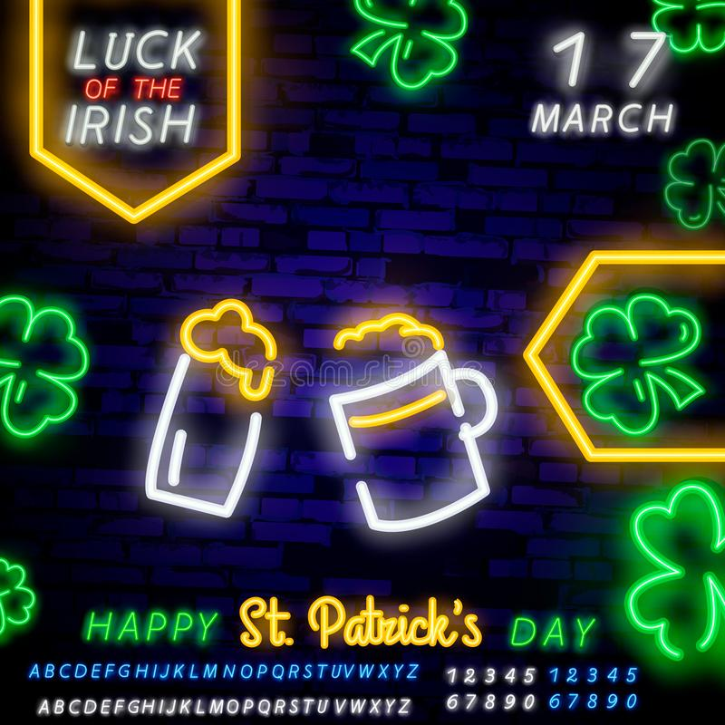 St. Patrick`s Day icon set isolated. Patrick`s Day neon sign. Horseshoe, Clover, Rainbow, Gold coin, Beer, Flag Ireland and. Calendar icon stock image