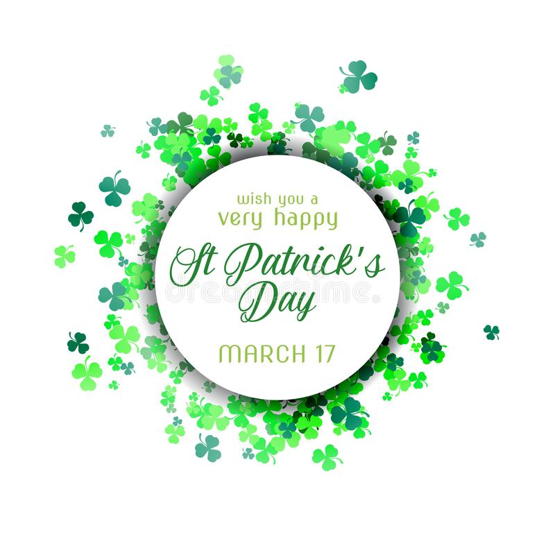 St patrick`s day illustration with colorful green shamrock royalty free stock image