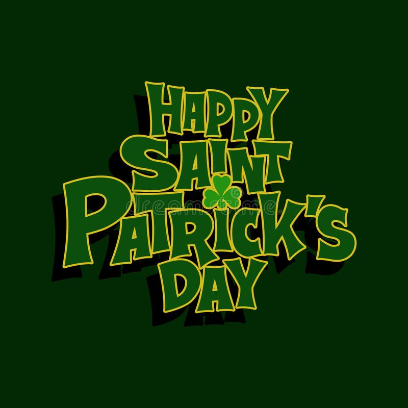 St.Patrick`s Day lettering typography icon. Hand-drawn typographic design lettering with shamrock for St.Patrick`s Day. Irish celebration design. Beer festival vector illustration