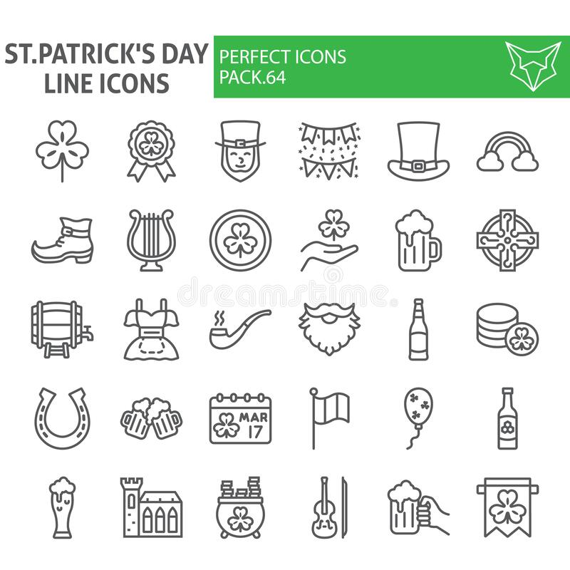 St. Patrick`s Day line icon set, holiday symbols collection, vector sketches, logo illustrations, saint patrick icons vector illustration