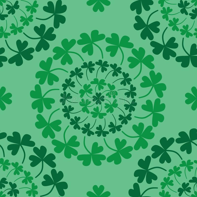 St. Patrick's Day mandala circle clover green seamless pattern vector illustration