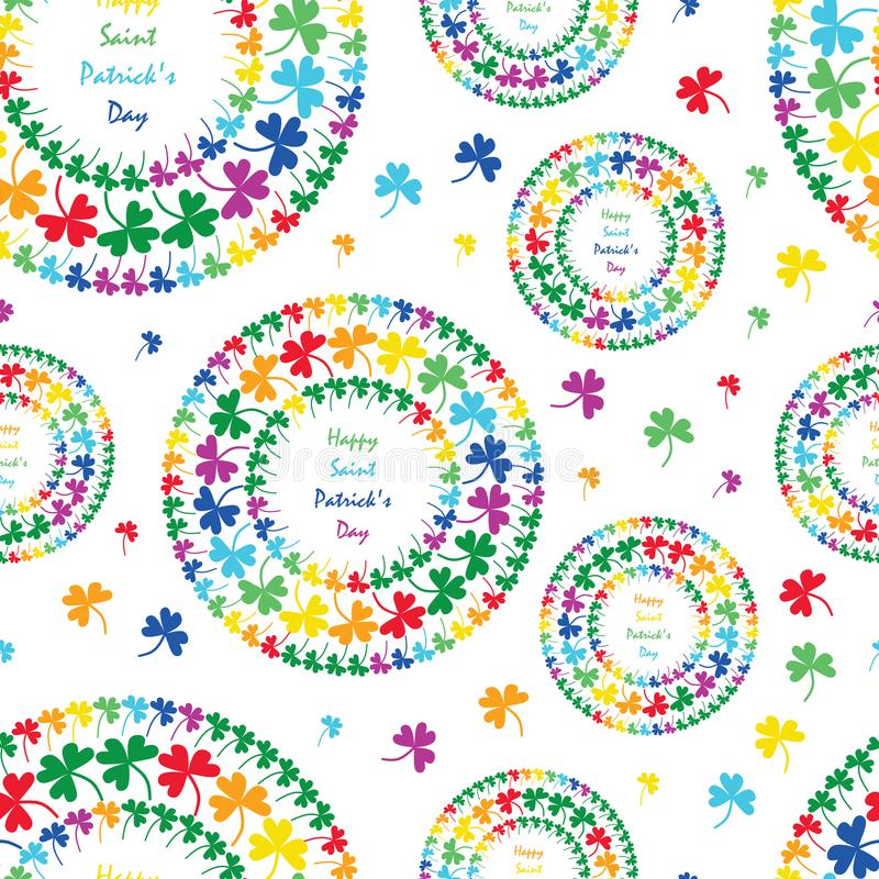 St. Patrick's Day mandala circle clover rainbow style seamless pattern vector illustration