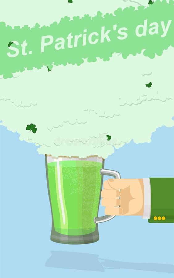 St. Patricks Day Mug of green beer. hand holding a mug beer vector illustration