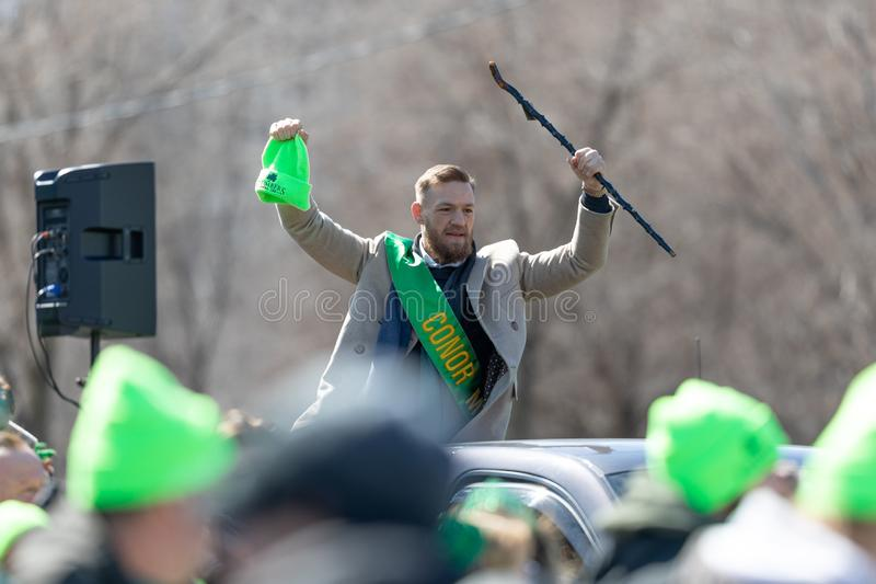 St. Patrick's Day Parade Chicago 2019. Chicago, Illinois, USA - March 16, 2019: St. Patrick's Day Parade, Conor McGregor, Mixed Martial Artist, being transported royalty free stock photography