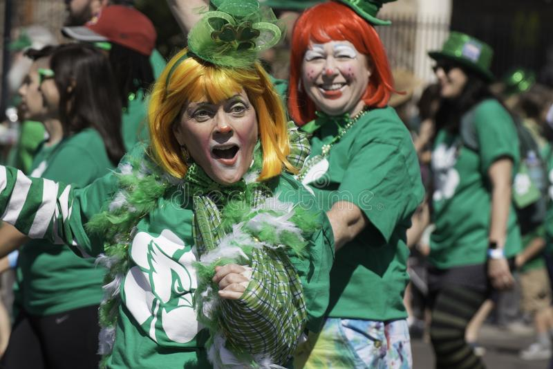 St. Patrick`s Day Parade in Phoenix, Arizona. Costumed in Irish green and celebrating Saint Patrick`s Day holiday with a parade in downtown Phoenix, Arizona, USA stock photo