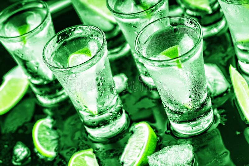 St. Patrick`s Day party, Alcoholic, cocktail, lime, ice, Vodka, royalty free stock photos