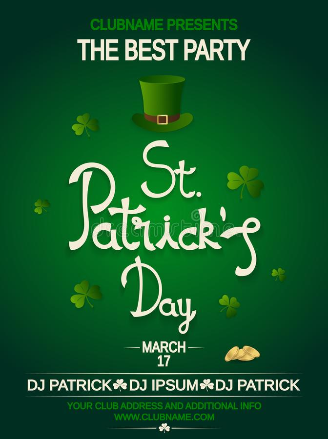 St. Patrick`s Day Party Invitation With Hat, Clover And Gold. Hand ...