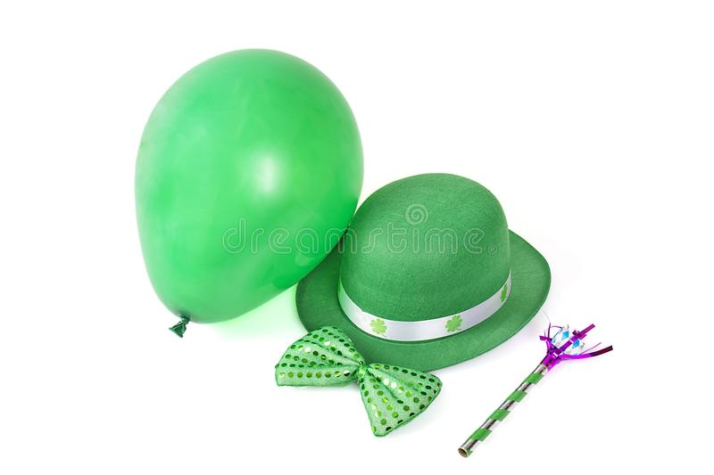 St Patrick`s Day Party Supplies Isolated On White stock photography