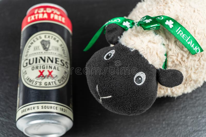 St. Patrick`s Day. A Pint of Guinness and Irish sheep stock photography