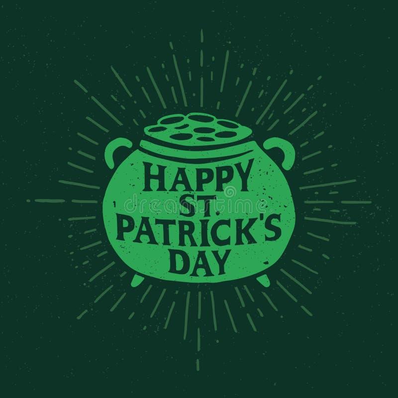 St. Patrick`s Day. Retro style emblem pot of Leprechaun with gold. Typography. stock illustration
