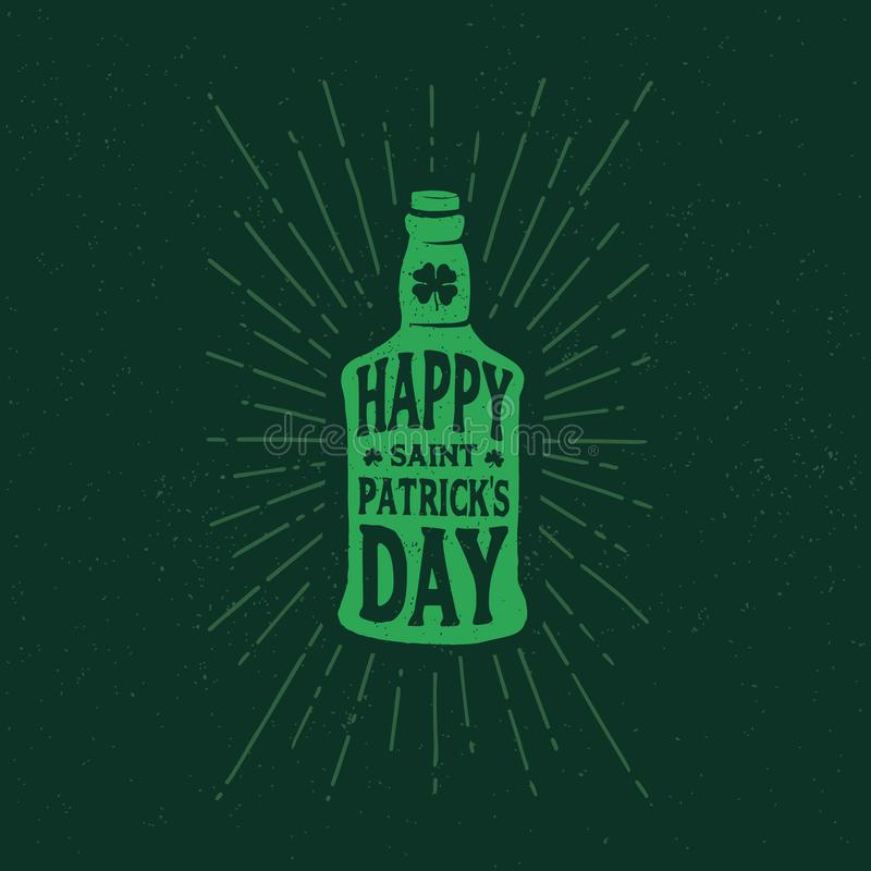 St. Patrick`s Day. Retro style emblems bottle of beer. Typography. vector illustration