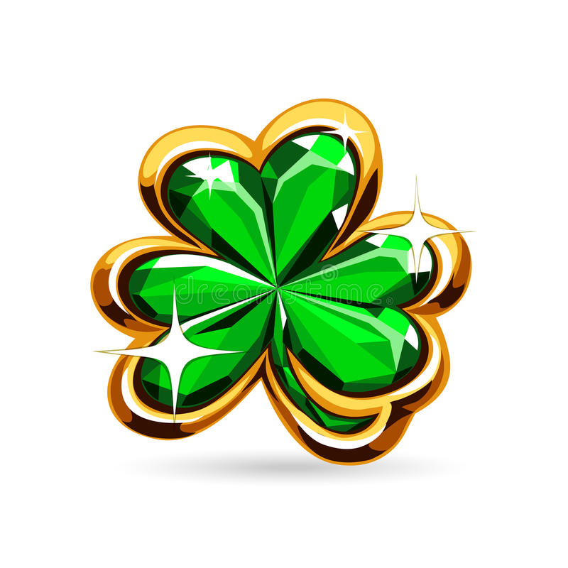 St.Patricks Days emerald clover stock illustration