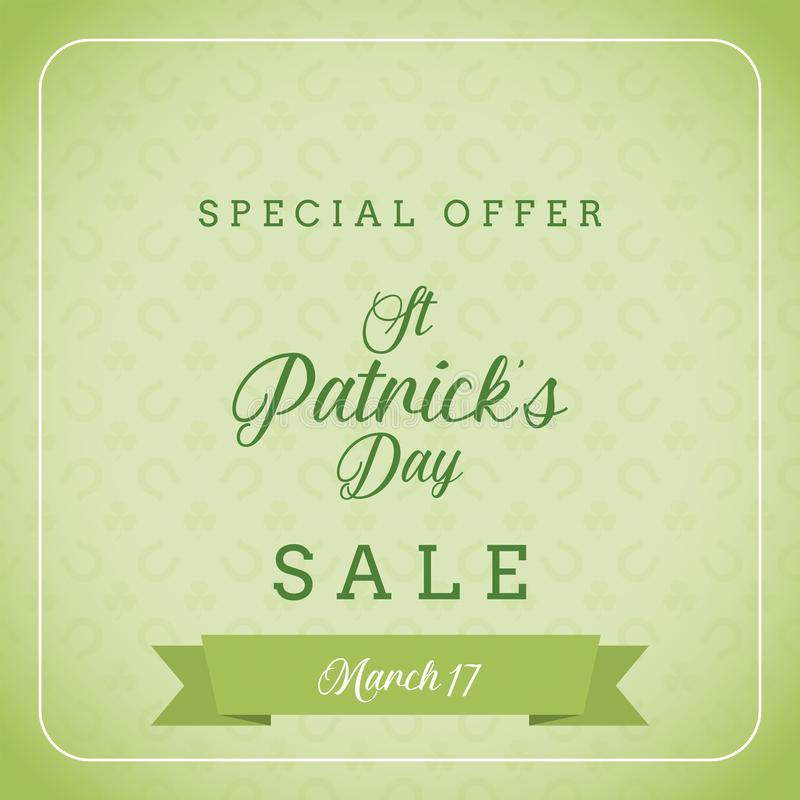 St patrick`s day sale and special offer banner stock image