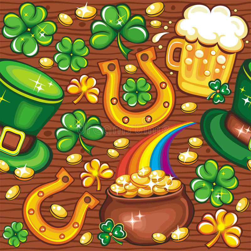 St. Patrick's Day seamless background vector illustration