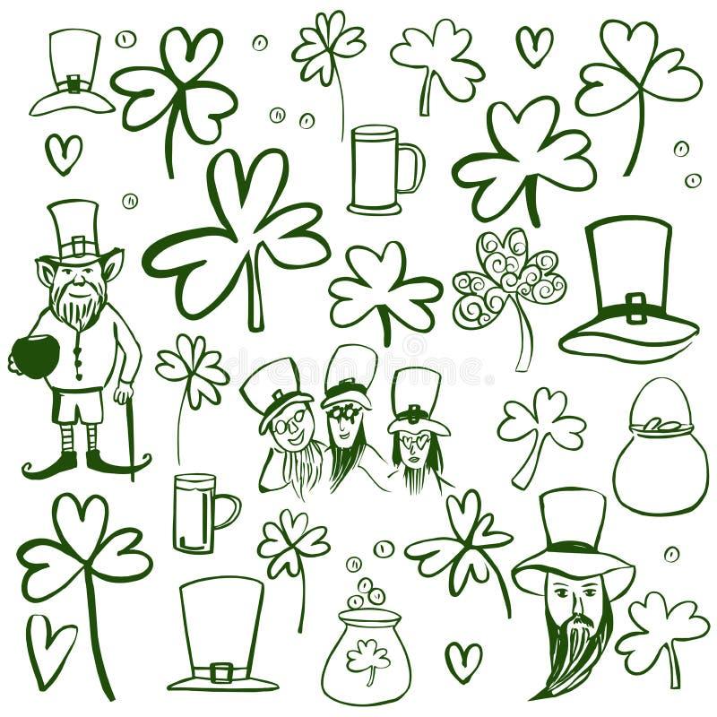 St Patrick`s Day set. Sketch  illustration royalty free illustration