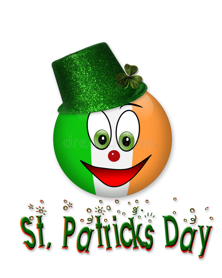 St Patrick's Day Smiley icon graphic. Illustration composition of Irish Flag smiley face for St Patrick's day card, invitation, icon or graphic with 3D text royalty free illustration