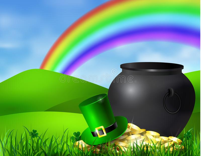 St. Patrick s Day symbol green pot vector illustration
