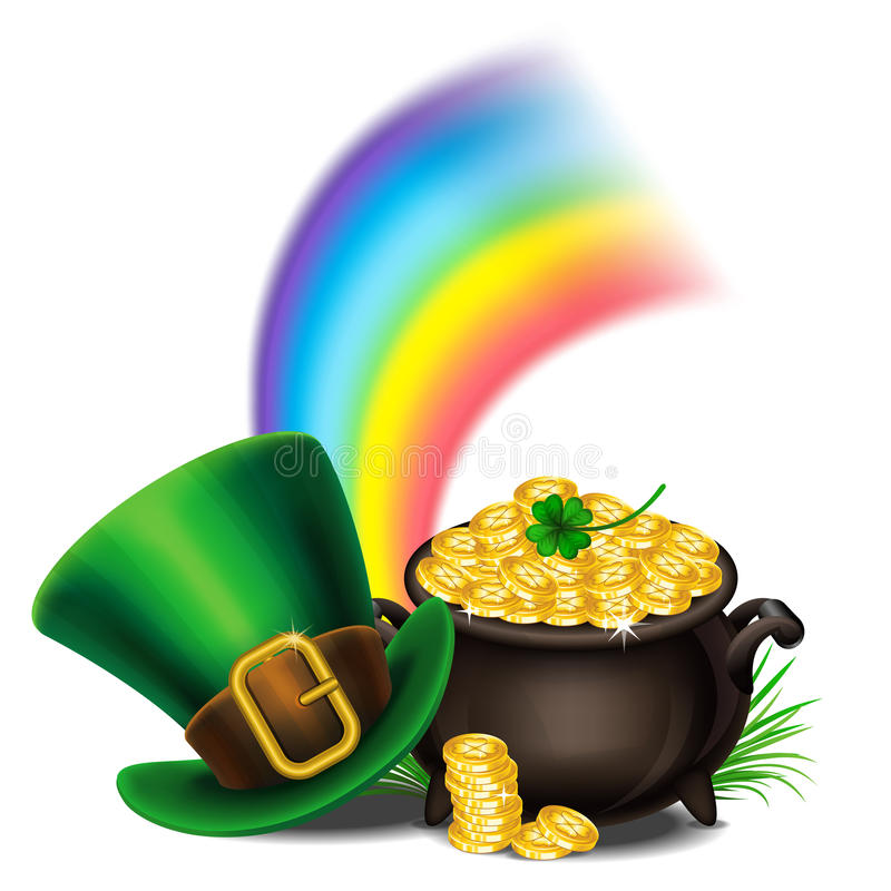Sttricks Day Symbols Pot Of Gold And Leprechaun Hat Stock Vector