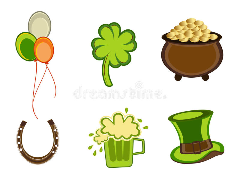 St.Patrick's Day symbols.Vector illustration. Vector illustration of St. Patrick's Day elements on white isolated background vector illustration